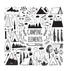 Set of hand-drawn elements for design logo camping vector image