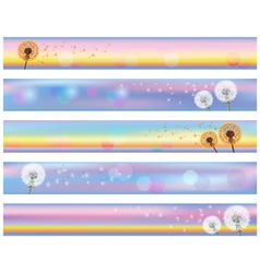 Set of horizontal floral banners with flower vector image