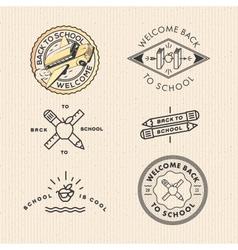 set vintage school labels vector image vector image