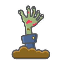 zombie hand filled outline icon halloween scary vector image