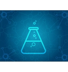 Abstract molecules background with flask icon vector image vector image