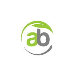 creative letter ab with circle green leaf logo vector image vector image
