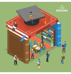 We love reading isometric flat concept vector image vector image