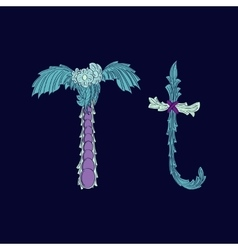 Abstract letter t logo icon in blue tropical vector