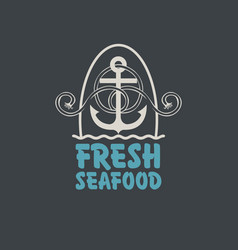 banner for fresh seafood with anchor and rope vector image vector image