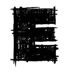 E - hand drawn character sketch font vector image vector image