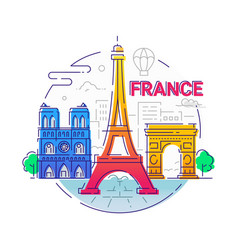 france - modern line travel vector image vector image