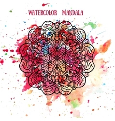 Mandala on watercolor background pattern Lace vector image