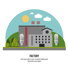 Plant circle trees sun chimney factory icon vector
