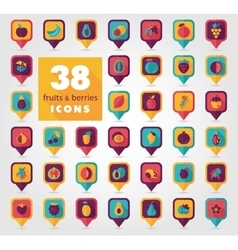 Set of Fruits and Berries pin map icon vector image vector image