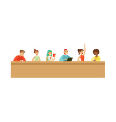 students listening a lecturer in university or vector image vector image