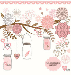 Wedding mason jar floral vector