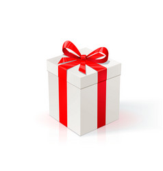 white cardboard box with red ribbon and bow gift vector image vector image
