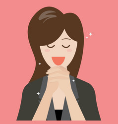 woman folded her hands for praying vector image