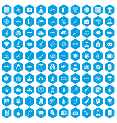 100 antiterrorism icons set blue vector image