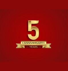 5 years anniversary golden design color vector