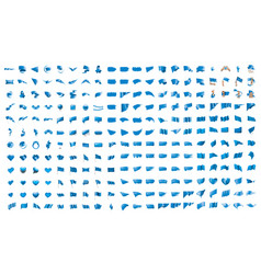 a large set blue flags on vector image