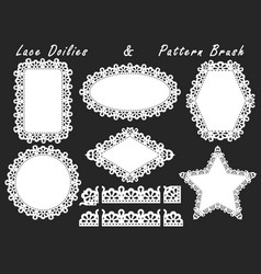 A set of lacy napkins of different shapes and vector