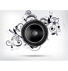 Abstract bckground with subwoofer and floral vector