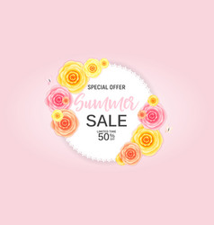 Abstract flower summer sale background with frame vector
