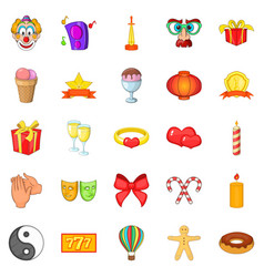 admiration icons set cartoon style vector image