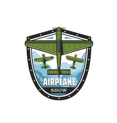 airplane show icon propeller planes and biplanes vector image