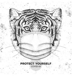 Animal tiger wearing face medical mask covid-19 vector