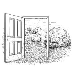 Artistic drawing of open door in beautiful nature vector