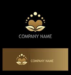 beauty love heart organic gold logo vector image