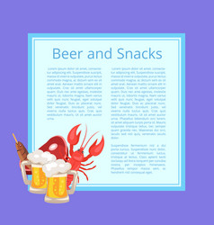 beer and snacks poster with tasty refreshment vector image
