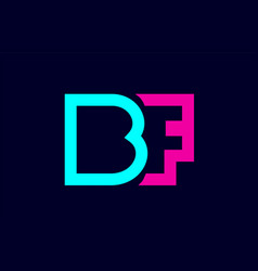 Bf b f blue pink colorful alphabet alphabet vector