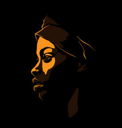black african woman portrait silhouette in vector image