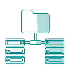 Blue shading silhouette of server network and vector
