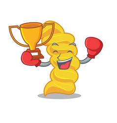 boxing winner fusilli pasta mascot cartoon vector image