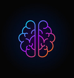 Brain outline colorful icon mind concept vector