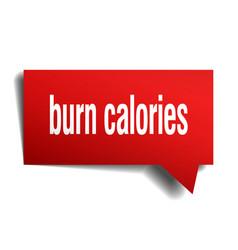 burn calories red 3d speech bubble vector image