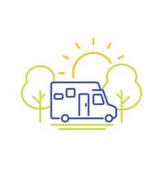 camper line icon travel in camping van vector image