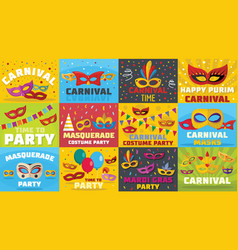 carnival mask banner concept set flat style vector image