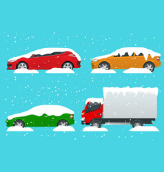 cars covered in snow on a road during snowfall vector image