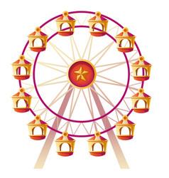Cartoon ferris wheel on carnival funfair vector