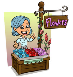 cartoon girl character and wooden flowers shop vector image