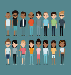cartoon people caucasian and afro american vector image