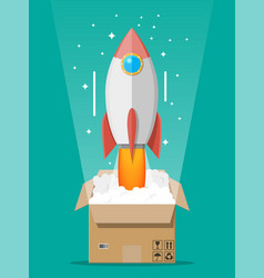 cartoon rocket ejected from cardboard box vector image