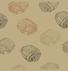 Chocolate croissants pain au chocolat hand draw vector