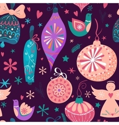 christmas baubles seamless pattern vector image