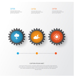 climate icons set collection of sun lightning vector image