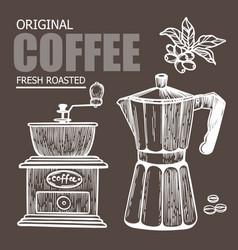 coffee maker sketch mill design label vector image
