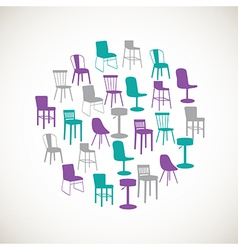 Colorful furniture icons - chairs vector image