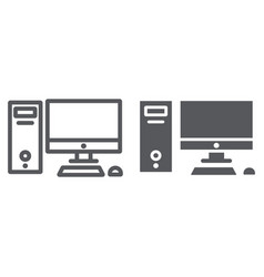 computer line and glyph icon desktop and monitor vector image