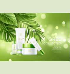 Cosmetics on green bokeh background with tropical vector